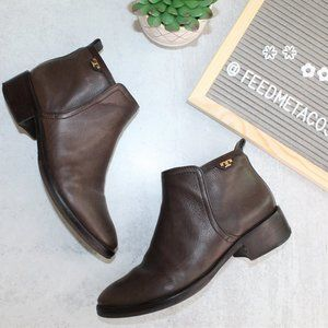 Tory Burch Brown Leather Ankle Booties